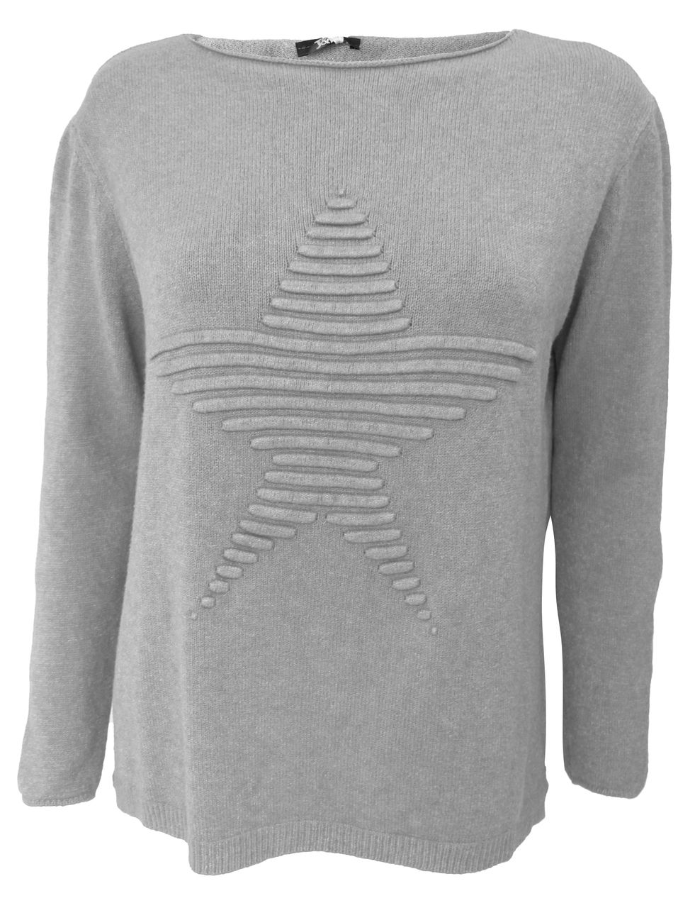 Jumper Knitting Kits Uk : Italian super soft grey knit jumper with a raised ribbed