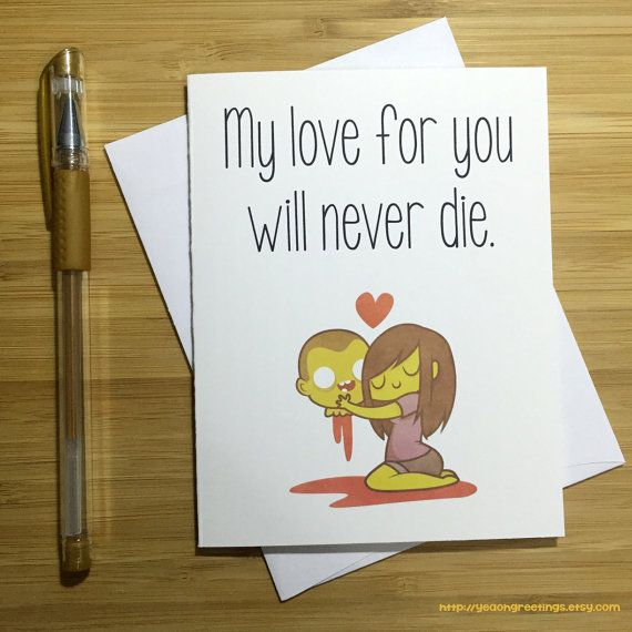 Romantic Card, Zombie Love, Walkers, The Walking Dead, Cute Anniversary Card, Zombie Gift