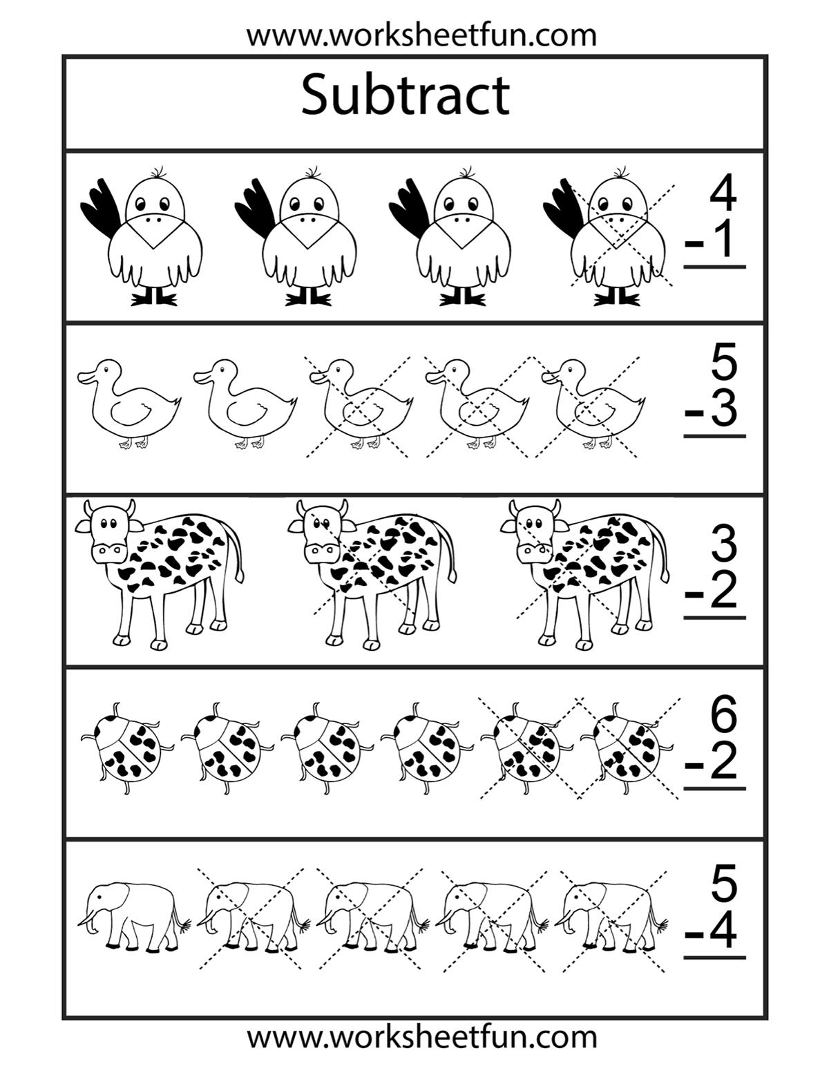 Subtraction Pictures Worksheet