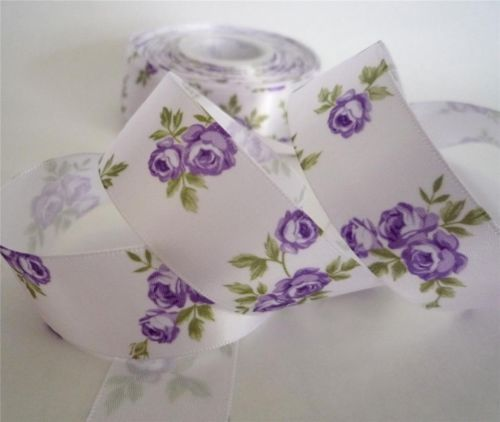 "1 1 2"" White Elegant Rose Flower Satin Ribbon 5 Yards 