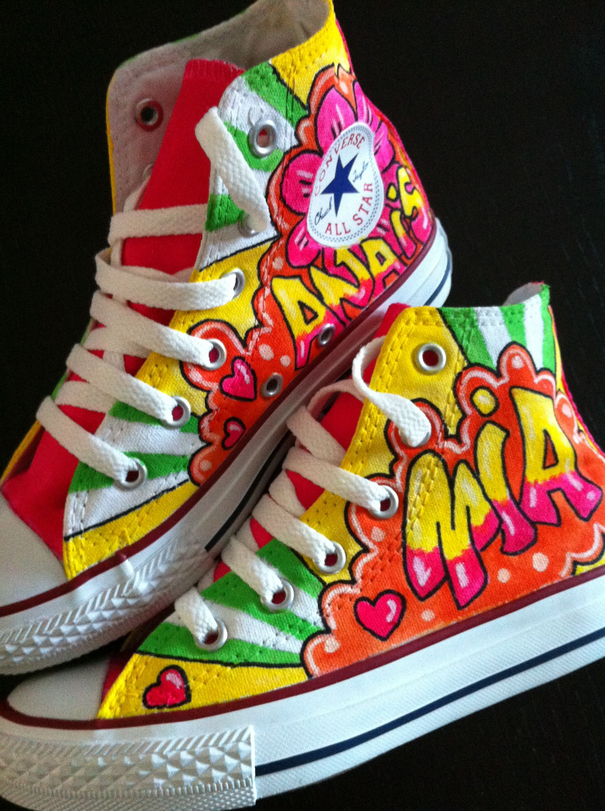 ac98cd6c77ff GIRLY CUSTOM PAINTED GRAFFITI NAME CONVERSE FROM £50 X