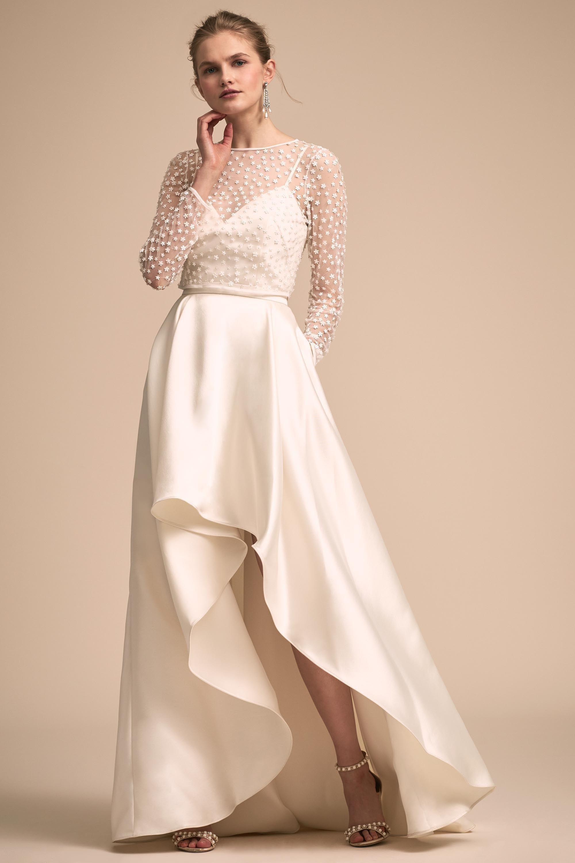 Lace Top Silk Bottom Wedding Dress Amal Topper Zelda Skirt