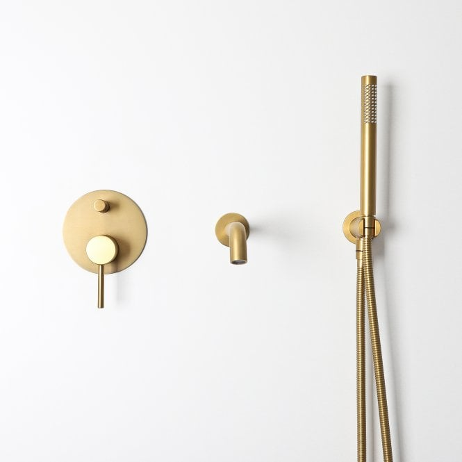 Luxe Brushed Gold Wall Mounted Bath Shower Mixer Tap Wall Mounted Bath Taps Bath Shower Mixer Taps Shower Mixer Taps