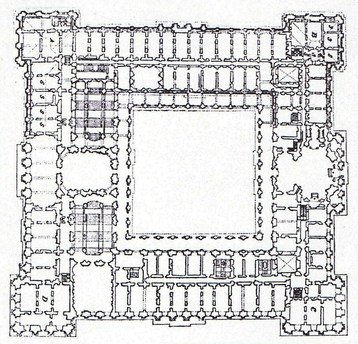 Basement floor plan of the royal palace in madrid for Palace plan
