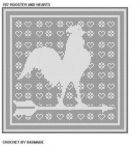 707 Rooster Hearts Filet Crochet Doily Mat Wallhanging Pattern