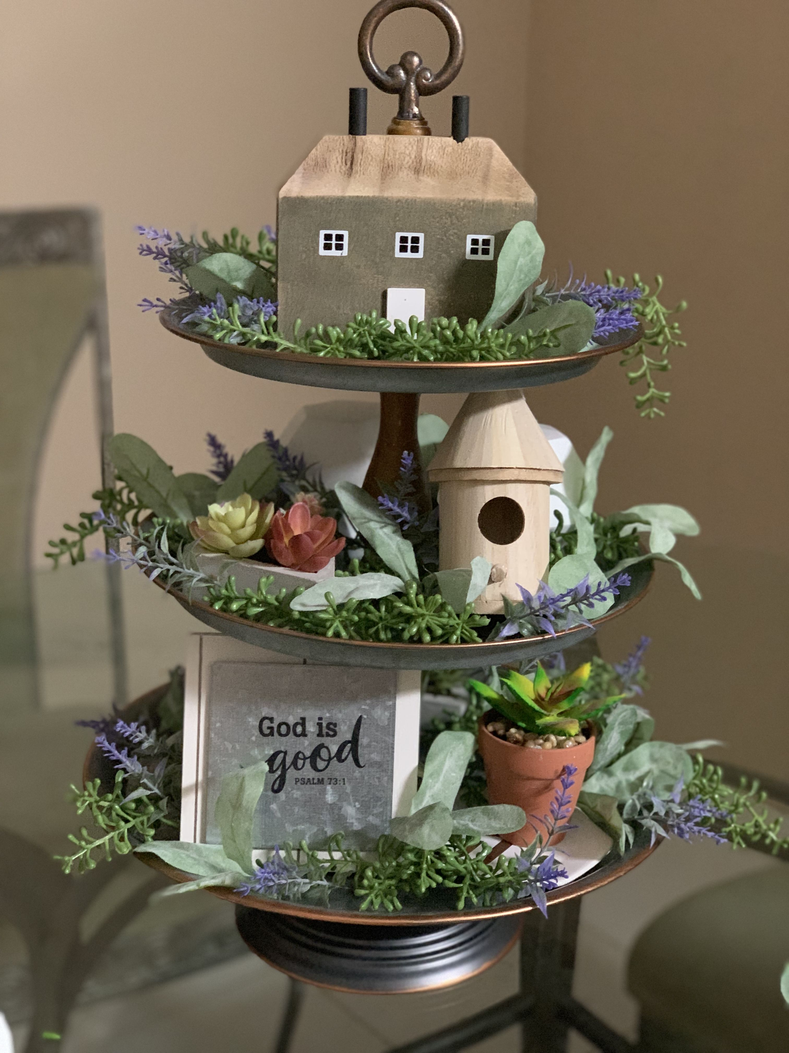Cute 3 tiered stand I created for my table. Hobby lobby ...