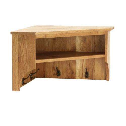 corner wooden coat rack shelves wall