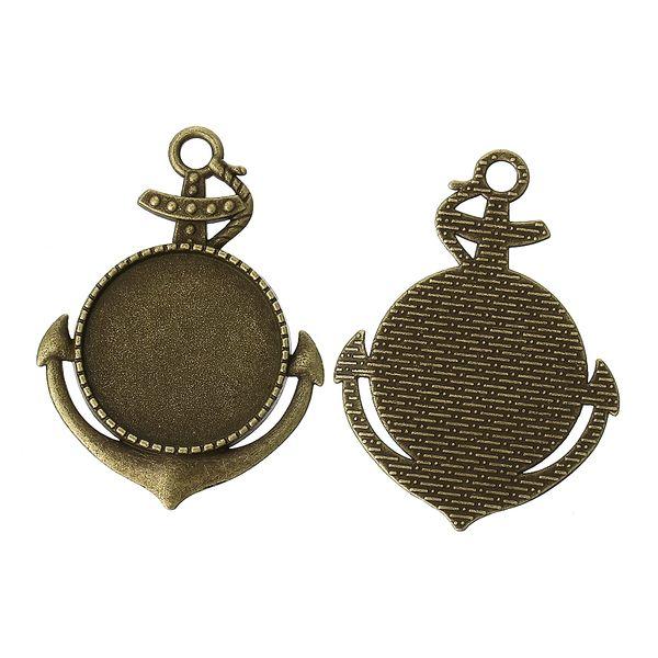2 Anker Fassungen Bronze 25mm Cabochons von DIY Schmuckwiese auf DaWanda.com