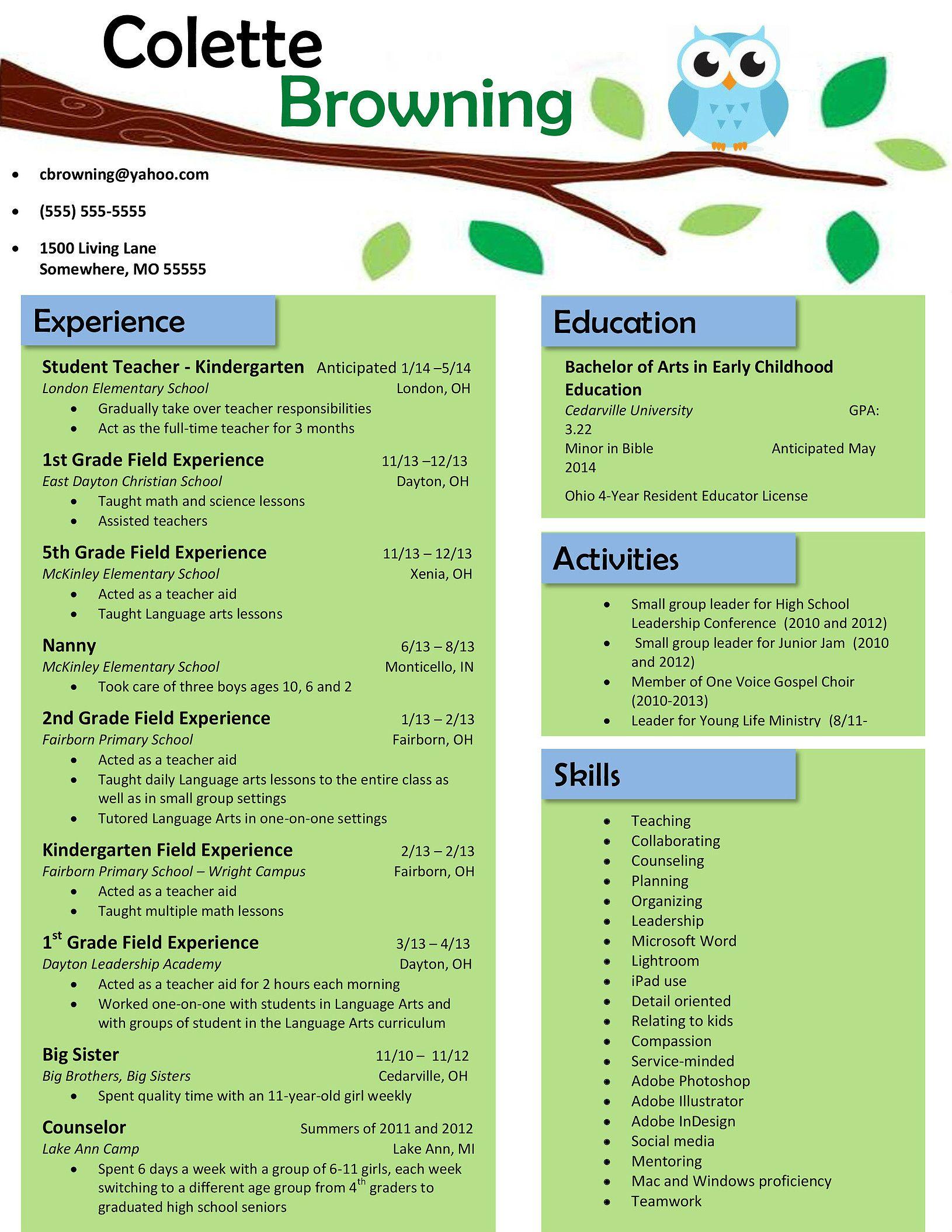 Owl resume teacher resume template free preschool