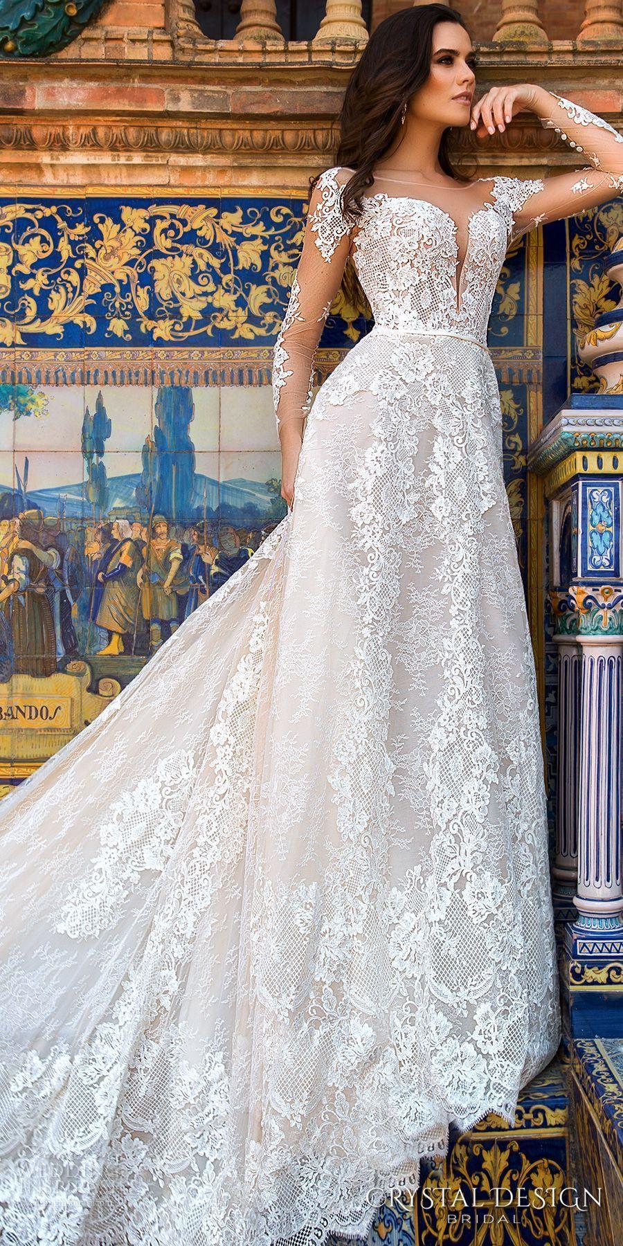 Crystal design bridal long sleeves illusion bateau deep