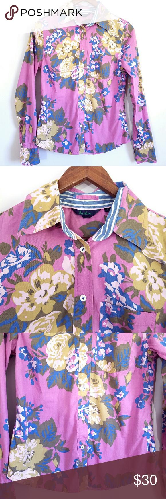 Boden Purple Floral Button Front Top EUC 8 Print