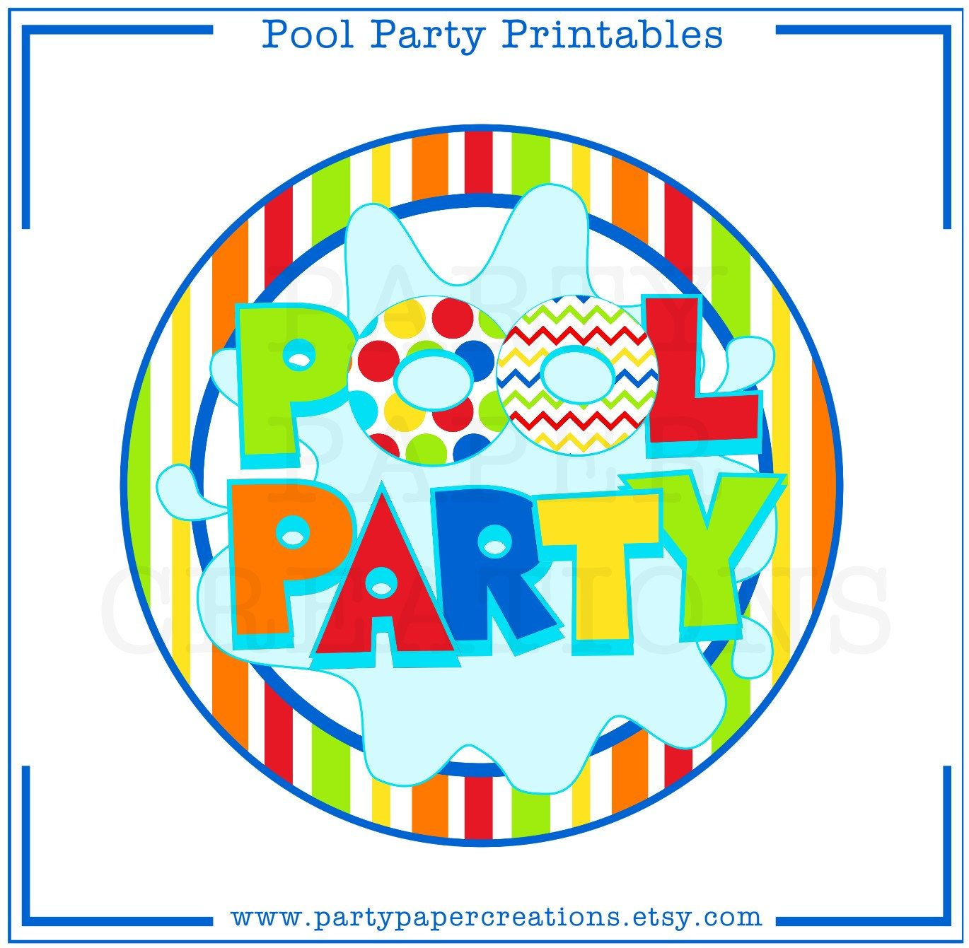image about Pool Party Printable identified as Fast Obtain Bash Printables - Pool Occasion Tablescape