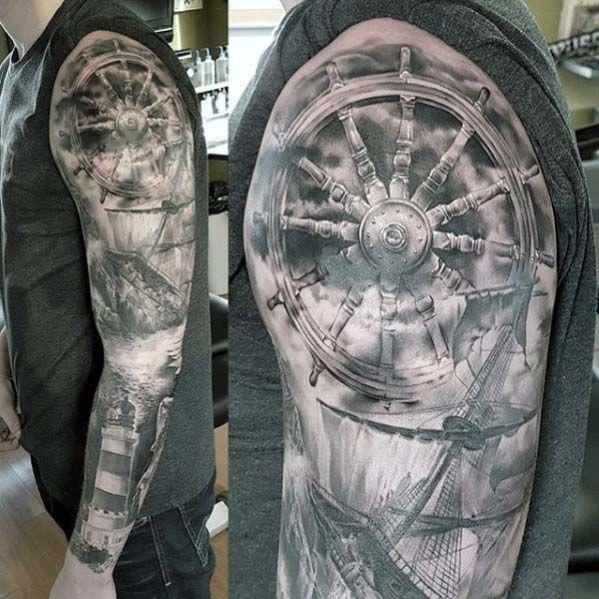 Black Ink Quetzalcoatl Tattoo On Full Sleeve By Spencer: 40 Nautical Sleeve Tattoos For Men