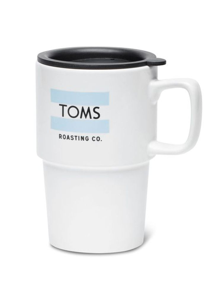 A TOMS mug, for the TOMS fan. Carry One for One everywhere, enjoy with #TOMSRoastingCo