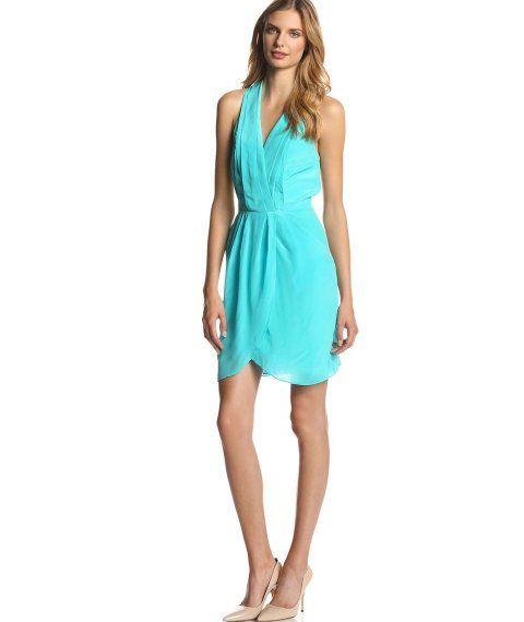 Agua Blue Greenish Summer Wedding Guest Dress With Tulip Skirt By Greylin
