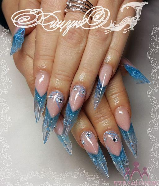Beautiful nail art design on edge nails! | stiletto nails | acrylic ...