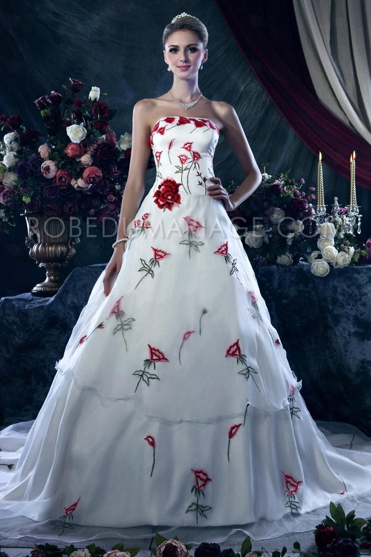 robe de mariée décorée des roses   robe de mariée   Pinterest