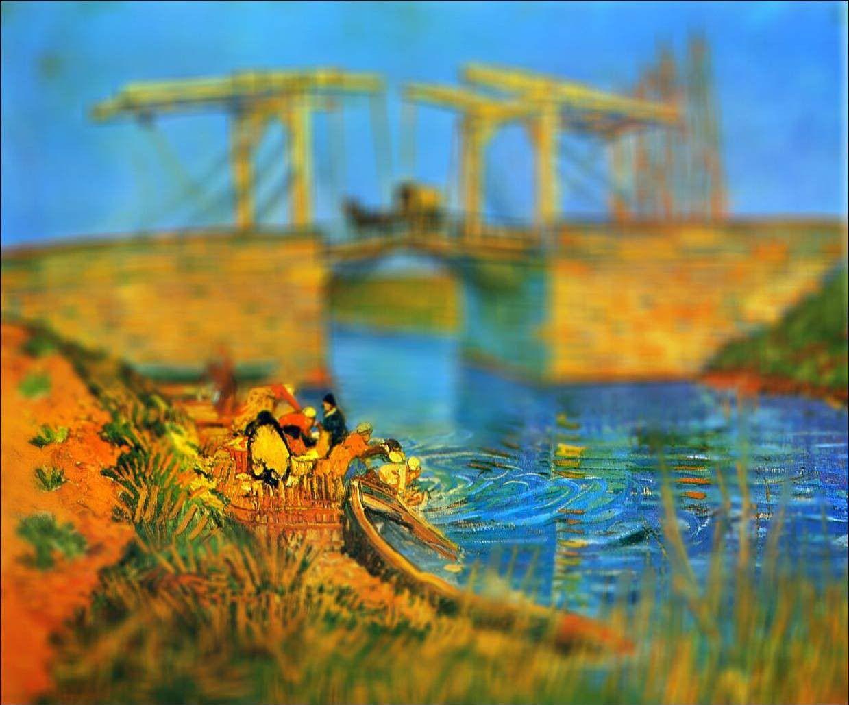 original Van Gogh Painting photographed with tilt shift technique for depth effect