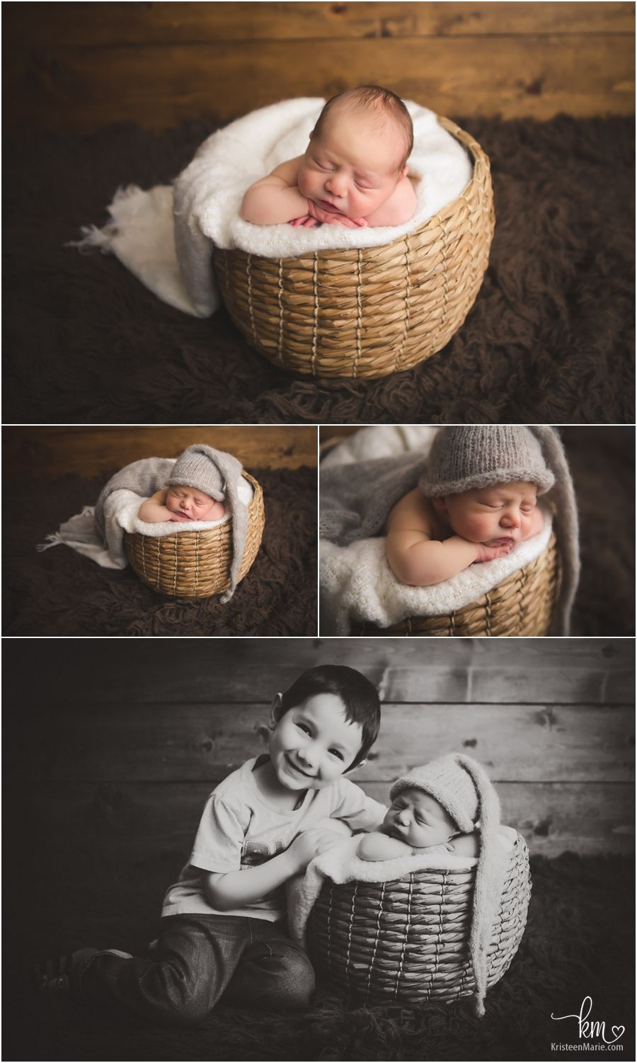 Baby in a wicker basket newborn photography in indianapolis