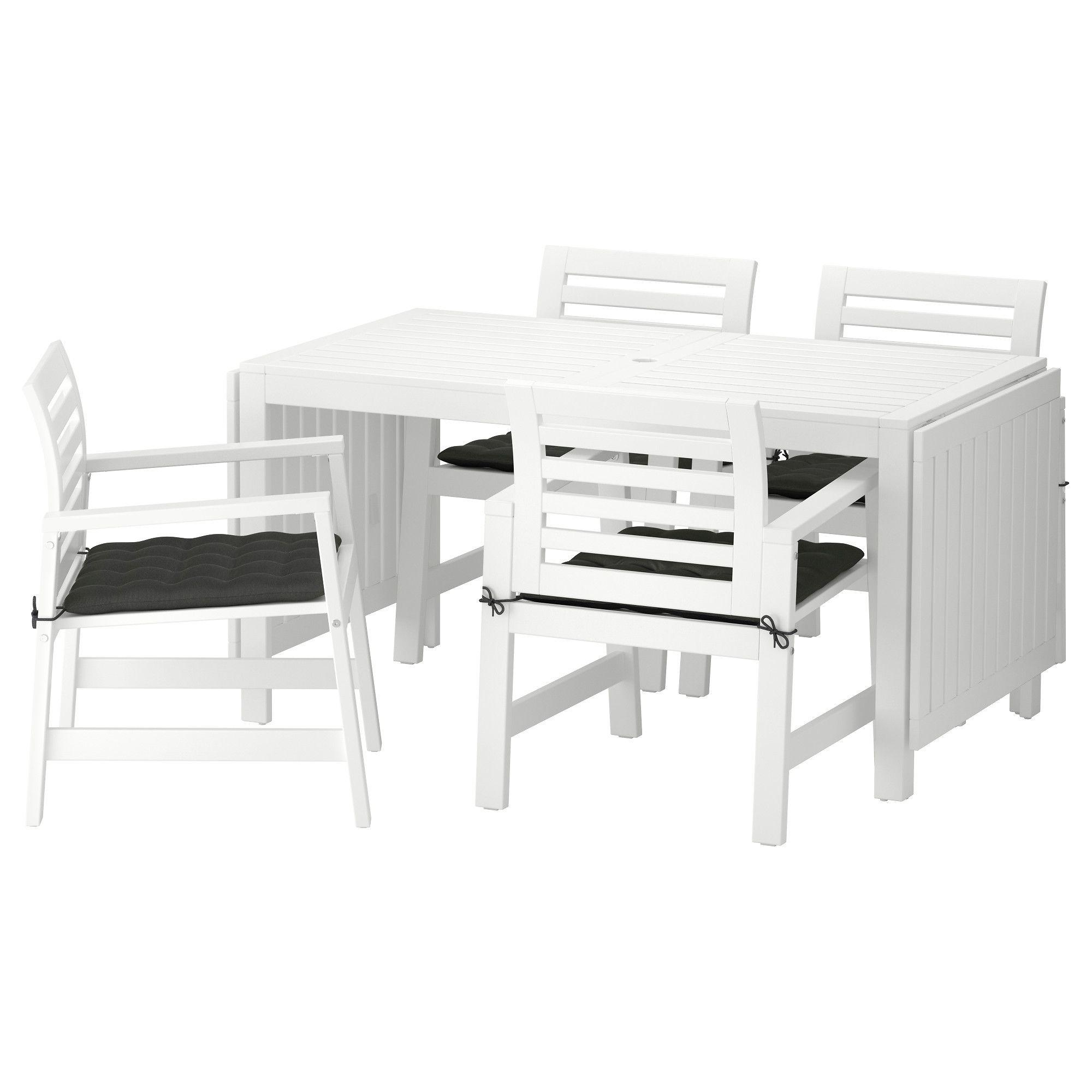 IKEA ÄPPLARÖ Table and 4 armchairs, outdoor white, Hållö