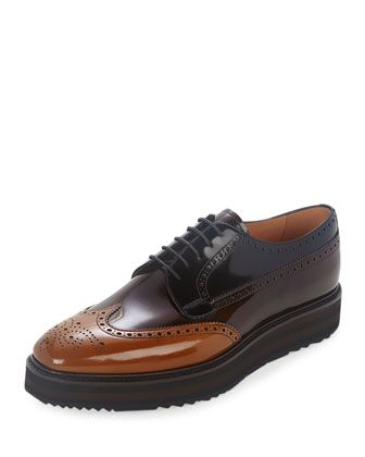 b97e4202f99b Prada derby shoe in tricolor leather with stacked sole. Perforated wing-tip  motif. Lace-up front. Leather lining and insole. Lugged rubber sole.