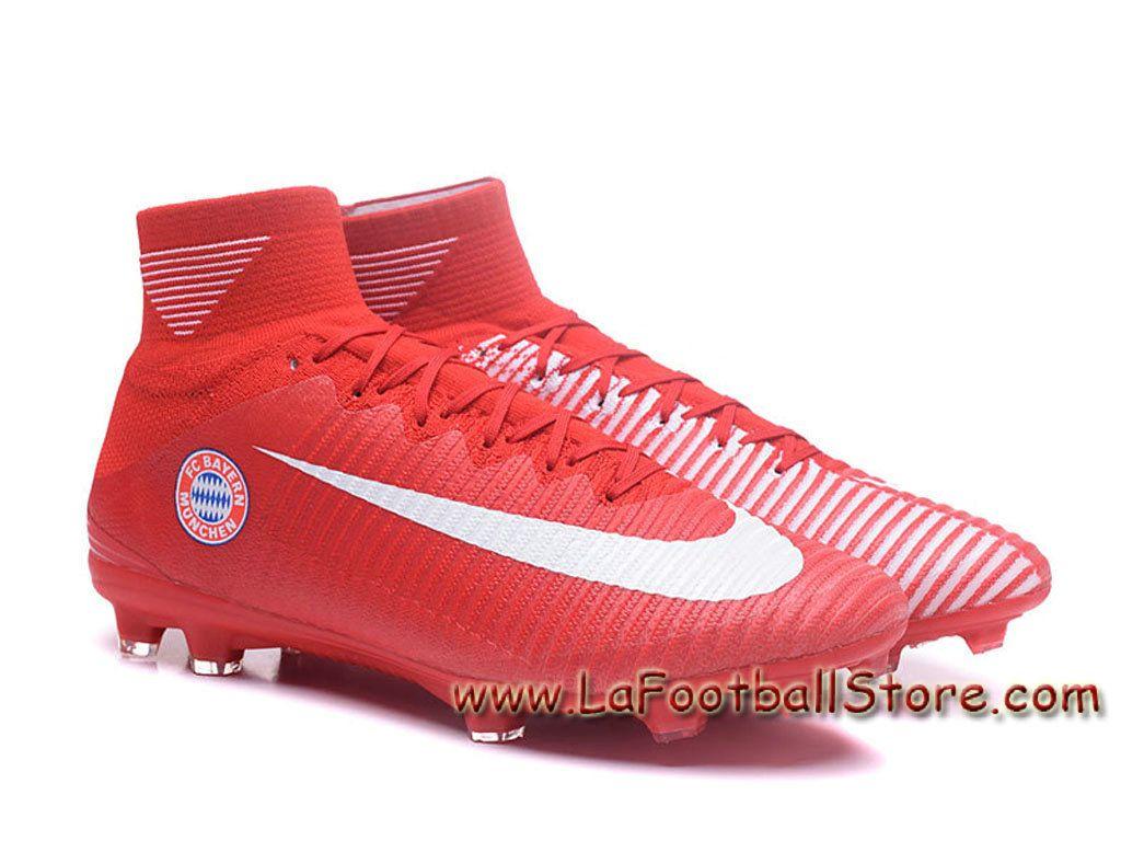 Nike Mercurial Superfly V FG(Bayern) Team Chaussure Officiel NIke de  football à crampons pour terrain sec pour Homme Rouge d2a22e8af766