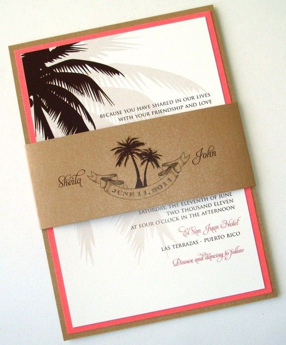 Coral And White Wedding Invitations: Beach Wedding Invitation