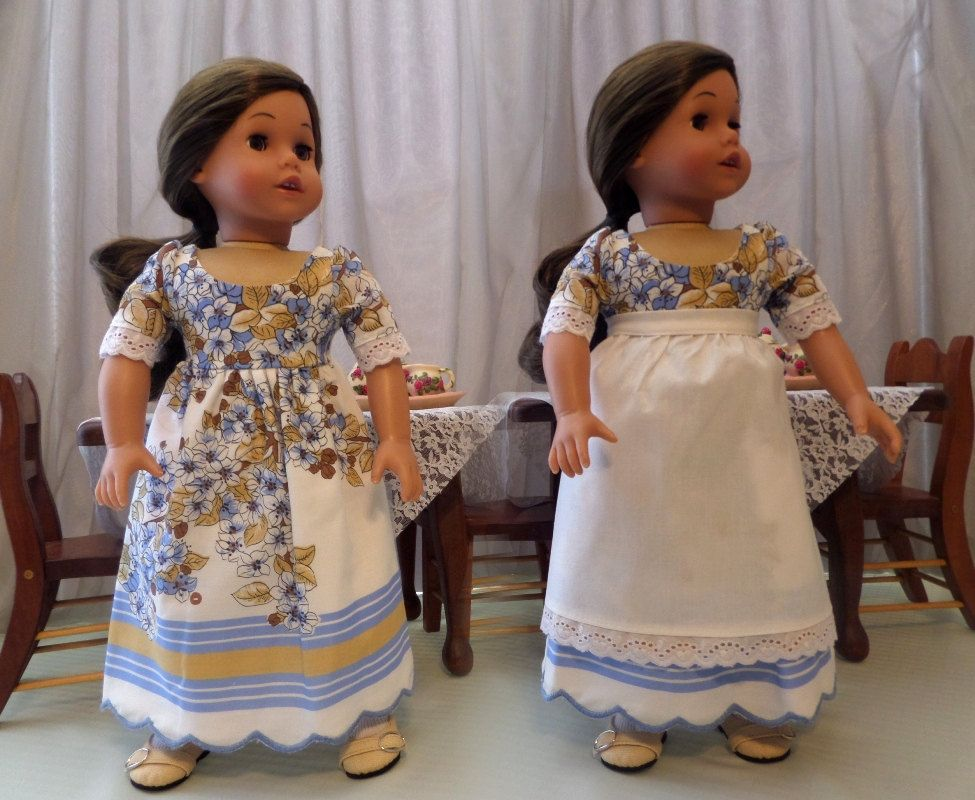 Doll Dress and White Doll Apron For 18 Inch Doll / 18 Inch Doll Clothes / Doll Accessories / Fits American Girl Doll
