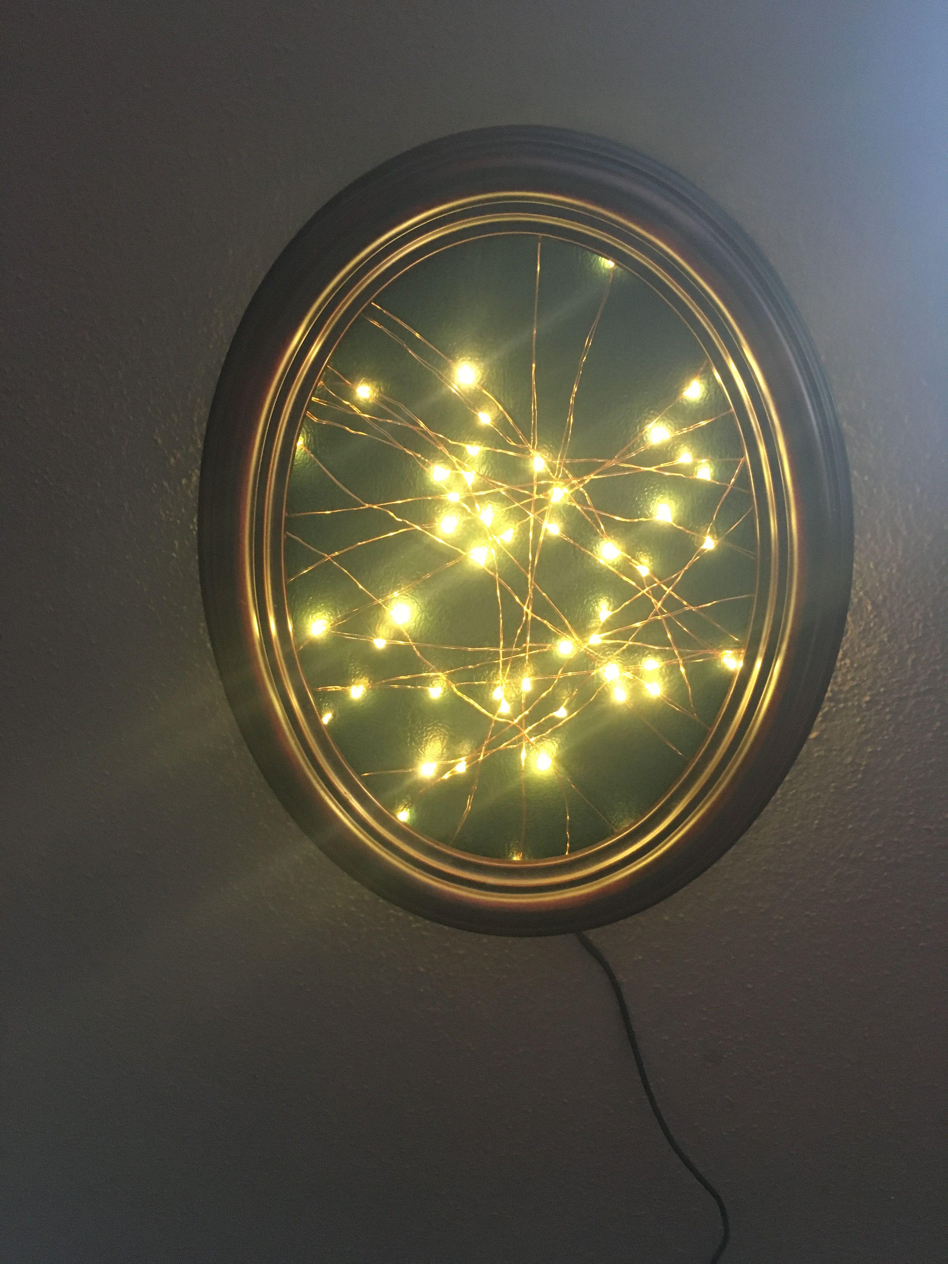 Led-lichterketten meine neue lampe   zusammen gebastelt aus großtante trudes