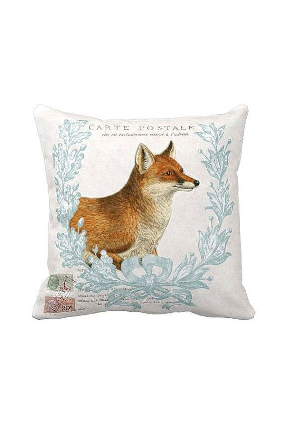 Pillow Cover Autumn Fox Woodland Fall Decor Pillow Cotton and Burlap Pillow Home DIY ...