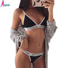 08e494c64 Gagaopt 2017 lingerie sexy mulheres sutiã e calcinha conjunto de letras  impresso Sexy Ladies Alta Qualidade Fita Empurrar Para Cima Breve Conjunto  ...