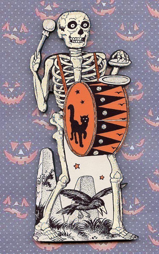 Halloween Skeleton Drum Black Cat Wood Wall Shelf Plaque Decor Vintage Sign
