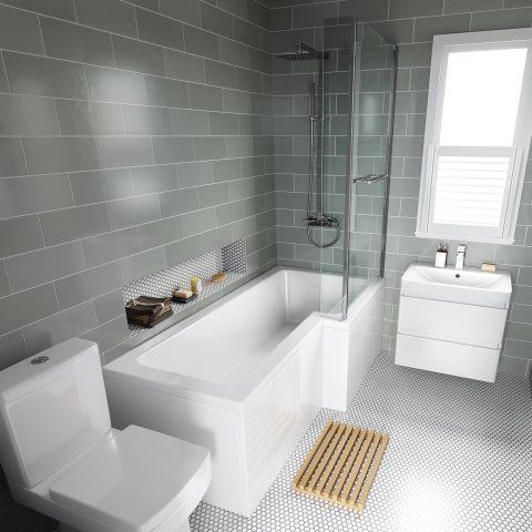 1700mm Right Hand L Shaped Bath With 6mm Thick Screen Rail Front Panel Bathroom Layout