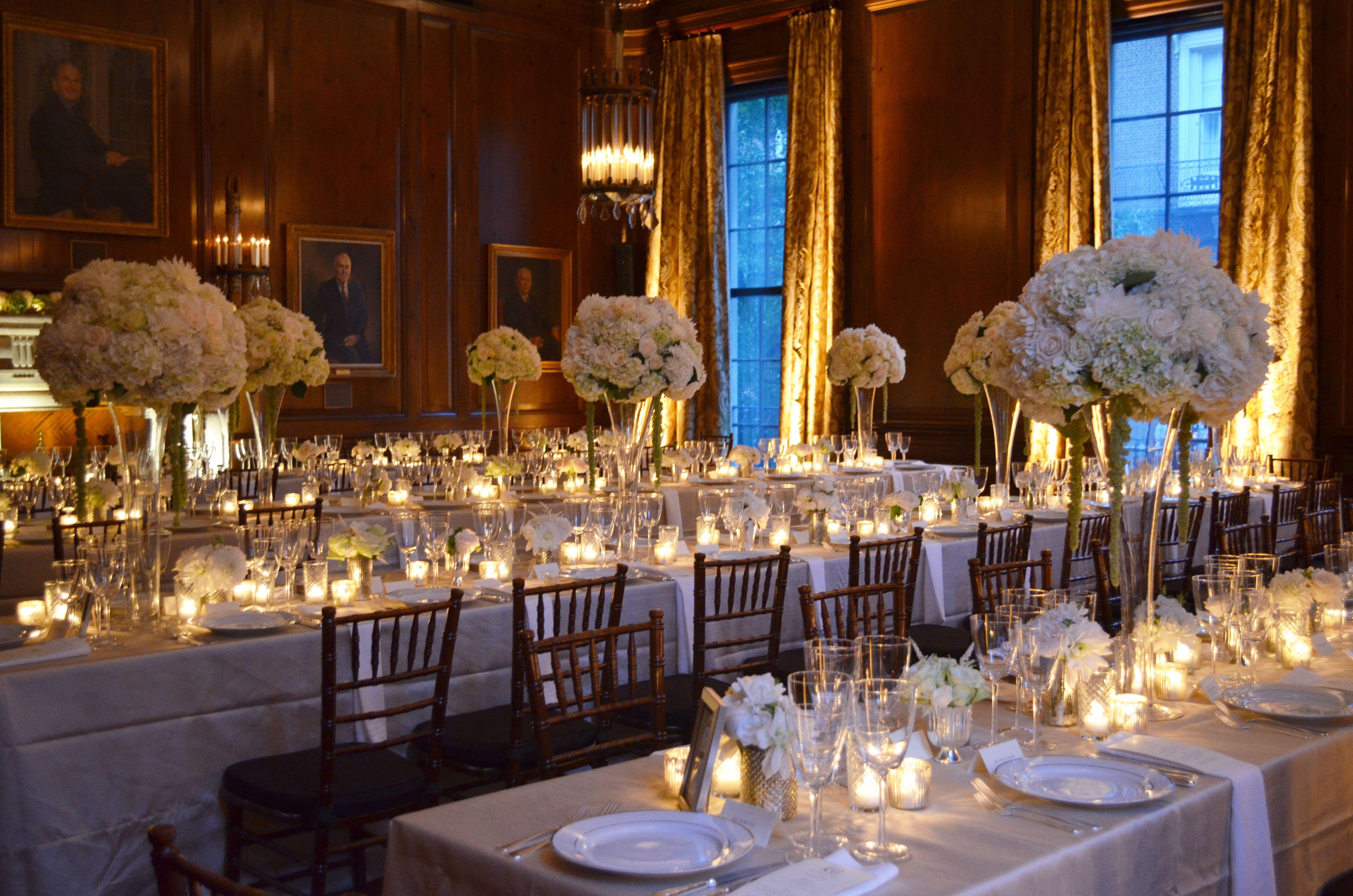 Rockefeller Ballroom Wedding Reception With Trellis Tables At The Harold Pratt House