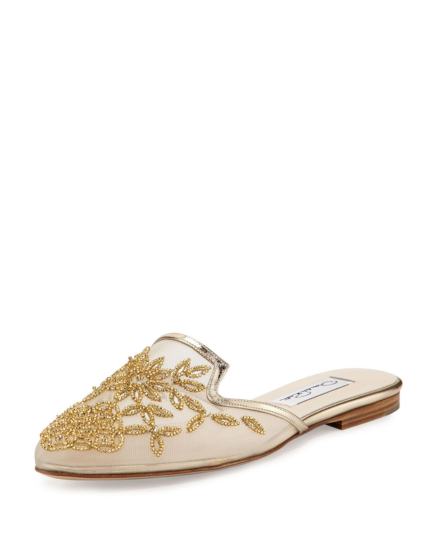 Lynda Embroidered Spanish Mule, Platinum (White), Size: 39.0B/9.0B - Oscar de la Renta