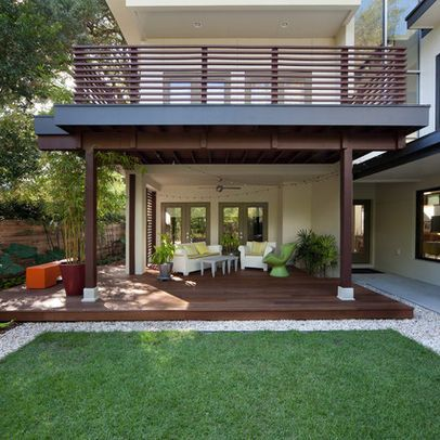 Modern patio design ideas pictures remodel and decor terrasse pilotisavec