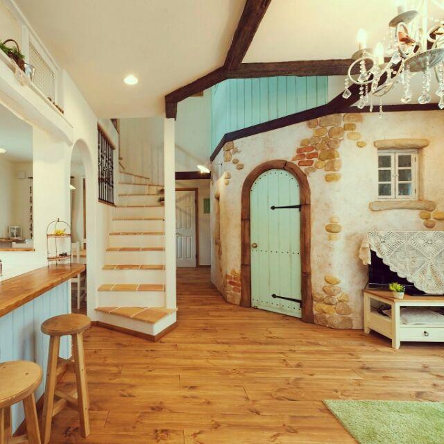 部屋全体 ベストショット カフェ風 無垢の床 ナチュラルインテリア