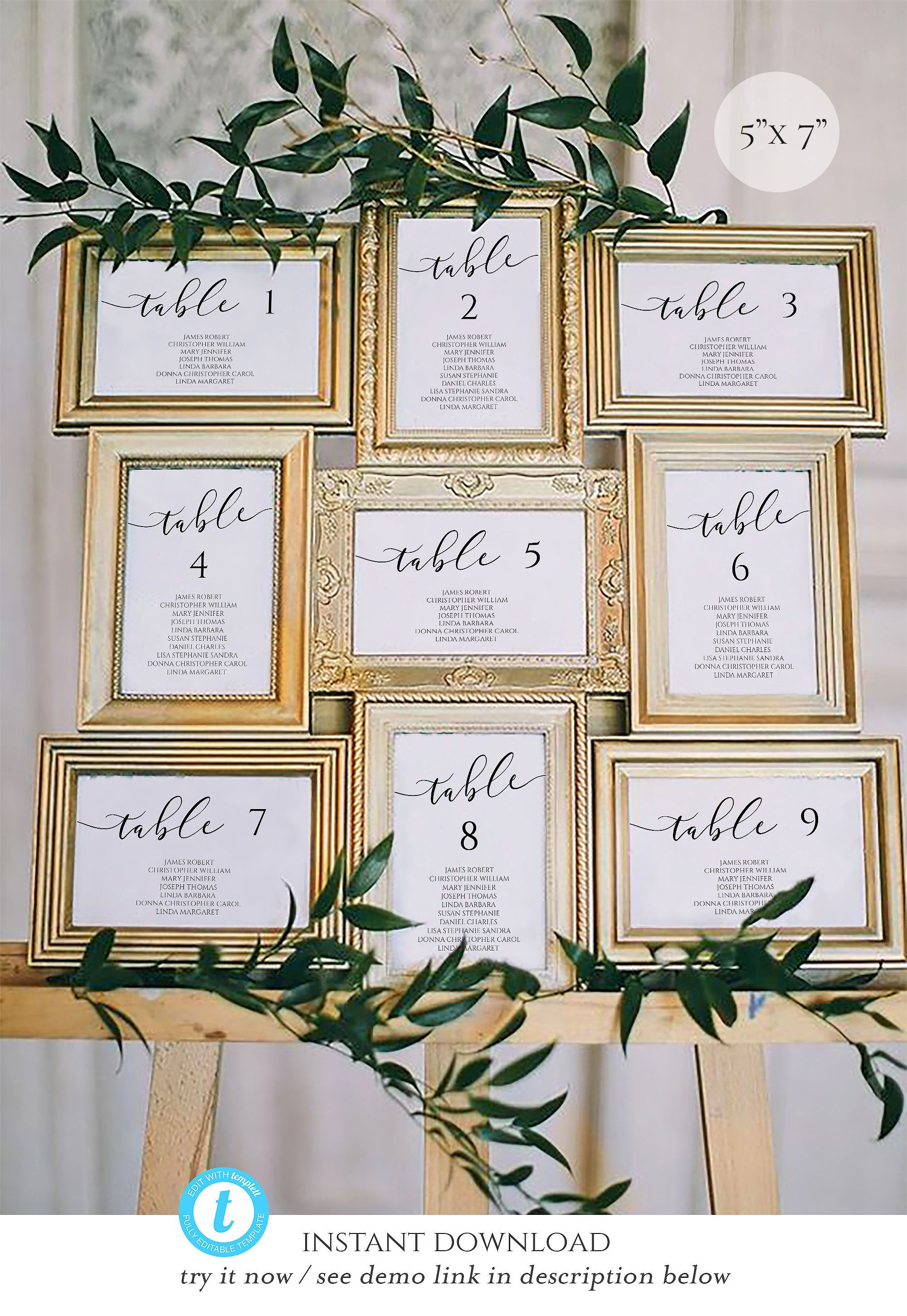 5x7 Wedding Seating Chart Template Calligraphy Table Seating Etsy Seating Chart Wedding Seating Plan Wedding Wedding Reception Seating
