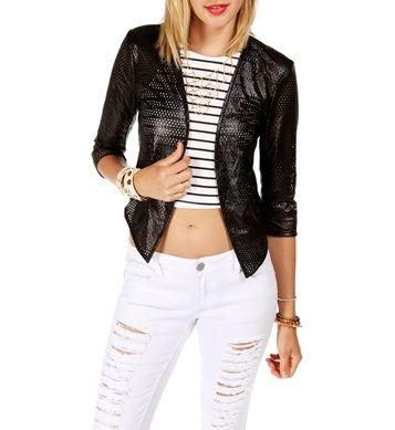 Black 3/4 Sleeve Perforated Jacket