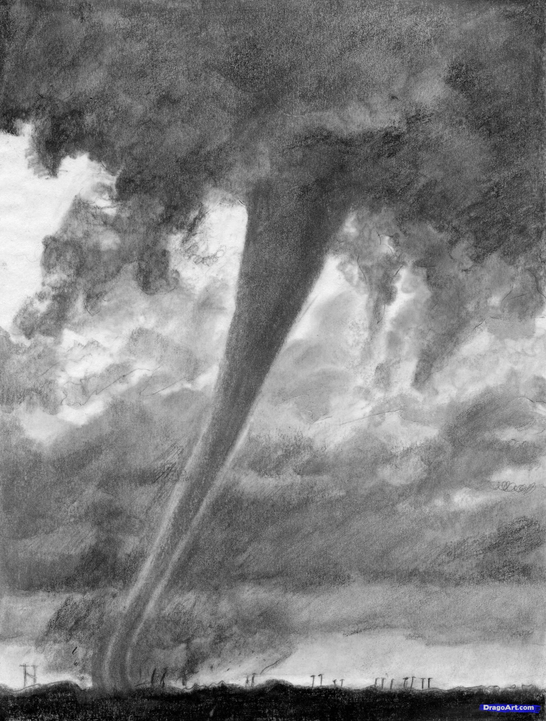 How To Draw A Realistic Tornado, Draw Realistic Tornadoes Step 21