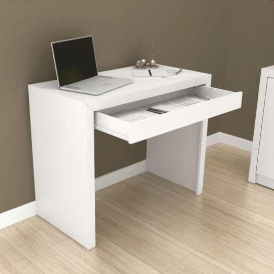 Mesa de escrit rio 1 gaveta me4107 branca m veis - Mesas de escritorio ...