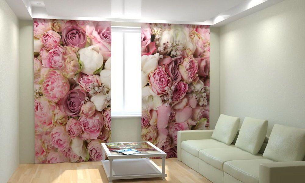 Vorhang Fotodruck fotogardine 3d pfingstrosen dekoschals foto vorhang luxus digital