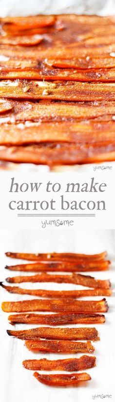 This delicious, easy-to-make vegan bacon substitute is made from carrots and five other store cupboard ingredients. | yumsome.com