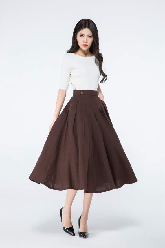 84e58f012 Brown linen skirts, pleated skirts, pleated maxi skirts, button skirt,  accordion skirt, midi skirt with pockets, custom skirts C1064