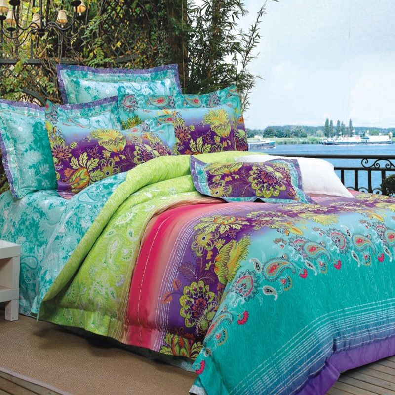 Turquoise Lime Green Purple And Red Bohemian Style Luxury Paisley Park Flower Stripe Print 100 Cotton Full Queen Size Bedding Sets Enjoybedding