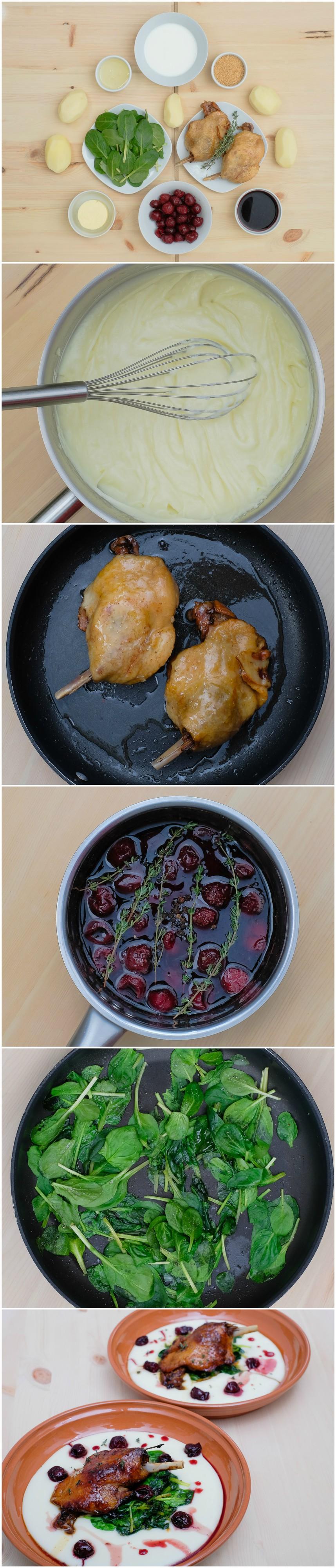 Pulpe de rață confiate cu sos de vișine. Vezi rețeta și comandă pe http://realfoods.ro/ucook | Livrare 8-13 mai 2017