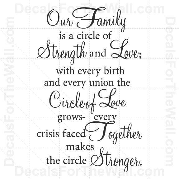 Quotes Families Circles Art Wall Love Life Sayings
