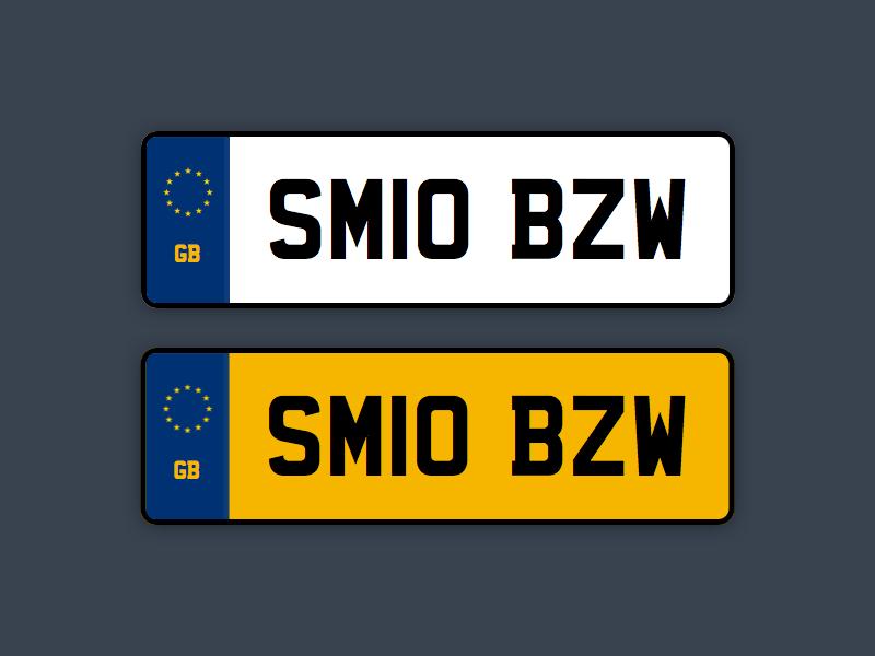 UK Car Registration Plates Sketch Freebie
