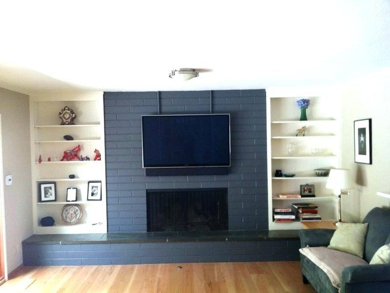 Grey Painted Fireplace Gray Dark Gray Painted Brick Fireplace