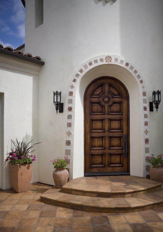 Tile Entry Designs Mediterranean With White Exterior Mosaic Arch Doorway